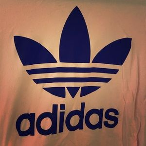 Adidas Logo Tee; nude pink in colour.